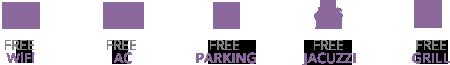 Free Wi-Fi, AC, Parking, Jacuzzi, Grill